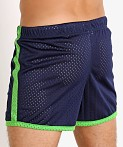 Jack Adams Air Mesh Training Short Navy/Lime, view 4