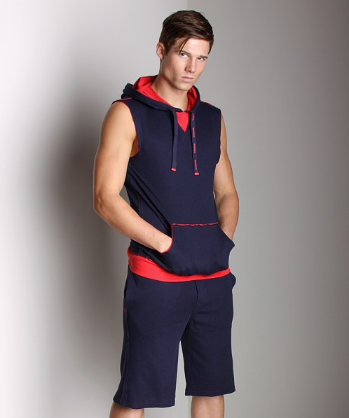 Diesel Cotton Jaquard Jacque Sleeveless Hoodie Navy
