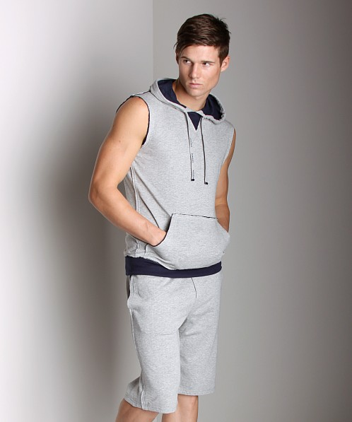 Diesel Cotton Jaquard Jacque Sleeveless Hoodie Grey