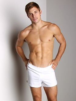 Activeman Gym Shorts with Built-In Jockstrap White
