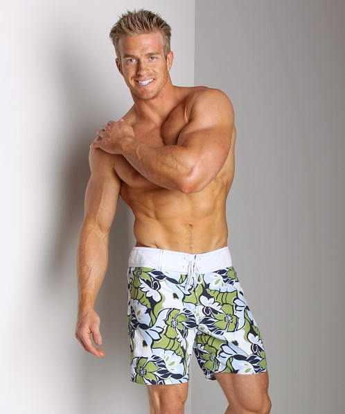 Sauvage Retro Hawaii Surf Short Green/Sky