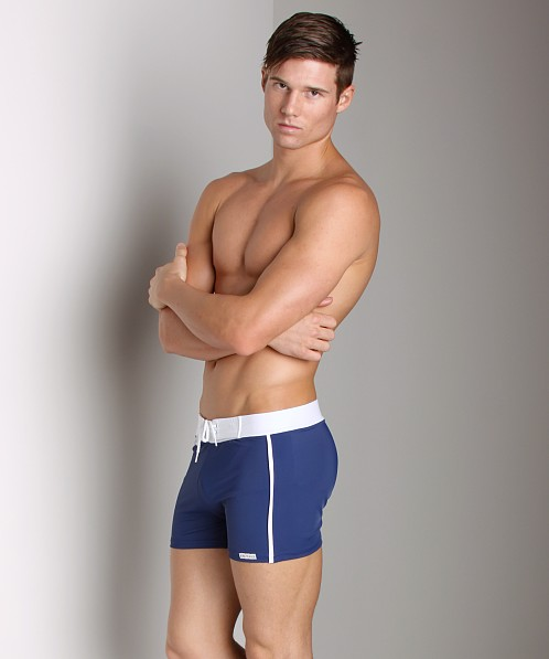 ea0e13336d Sauvage Retro Nylon/Lycra Swim Short Navy 252NAV at International Jock