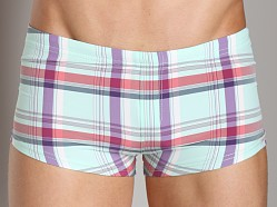 Sauvage Plaid Square Cut Swim Trunk Seafoam