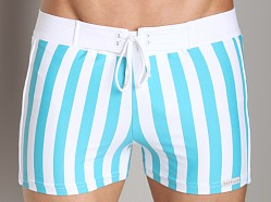 Sauvage Striped Retro Square Cut Swimmer Seafoam