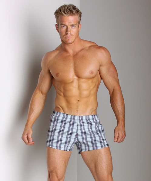 Sauvage Italian Lycra Plaid Swim Trunk Americano