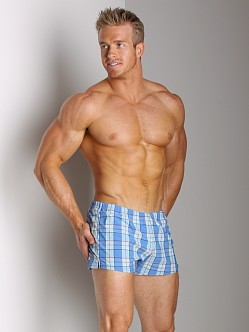 Sauvage Italian Lycra Plaid Swim Trunk Steel