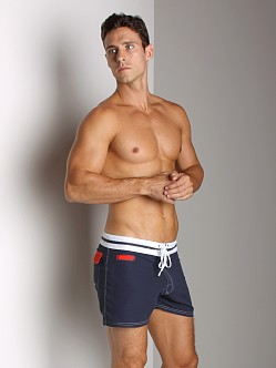 Tulio Striped Waistband Surf Short Navy