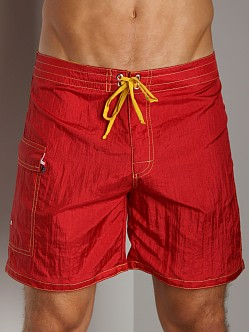 Tulio Shimmer Nylon Surf Short Red