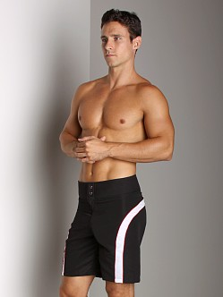 Tulio Neoprene Waistband Striped Surf Short Black