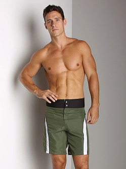 Tulio Neoprene Waistband Striped Surf Short Olive