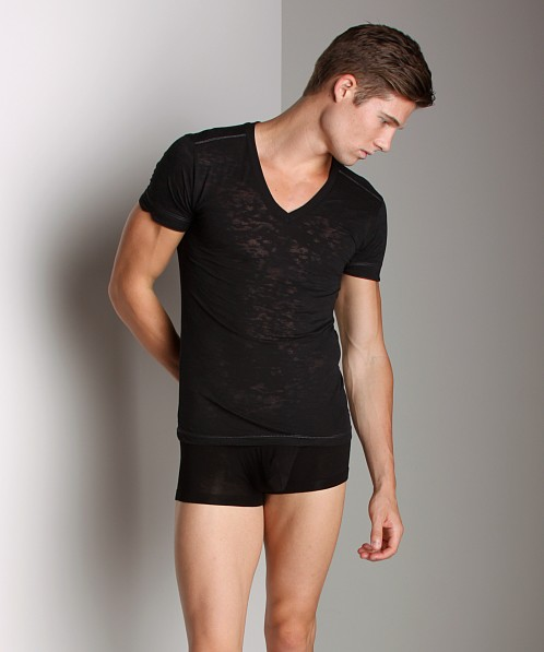 Andrew Christian Skinny V-Neck T-Shirt Black