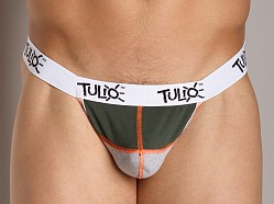 Tulio Power Pouch Contrast Stitch Thong Olive