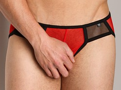 Tulio Mesh Colorblock Sport Brief Red/Black
