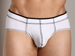 Tulio Contrast Stitch Power Pouch #12 Brief White/Black