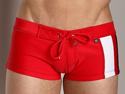 Tulio Scuba Side Stripe Swim Short Red/White/Navy