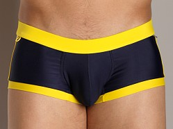 Tulio Color Block Midi Swim Trunk with Cire Panel Navy/Yellow