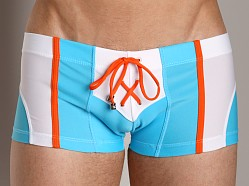 Tulio Color Block Lace-up Mid-Length Swim Short Turquoise