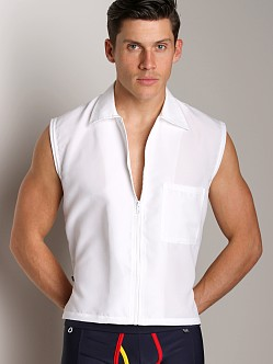 Tulio Sleeveless Zippered Muscle Top White