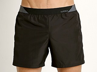 "Model in black GrigioPerla Solid 13"" Swim Shorts"