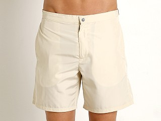 "Model in sand cream GrigioPerla Solid 16"" Swim Shorts"