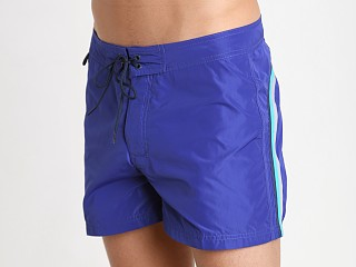 "Model in royal blue #21 Sundek 14"" Poly Stretch Swim Trunk"