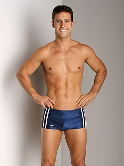 Speedo Stripe Square Leg Navy