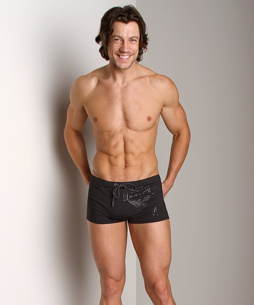 Emporio Armani Outline Logo Swim Trunk Black
