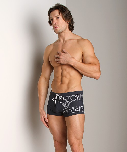 Emporio Armani Outline Logo Swim Trunk Marine