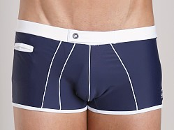 James Tudor Retro Classic Swim Trunk Navy/White