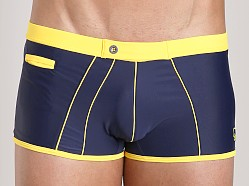 James Tudor Retro Classic Swim Trunk Navy/Yellow