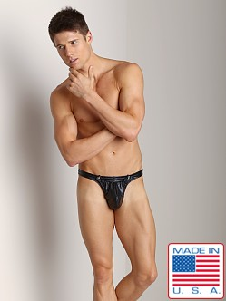 California Muscle Leatherette Pommel Thong Black
