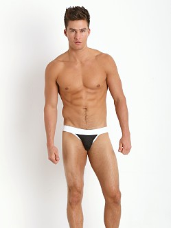 Tulio Stretch Mesh Power Pouch 3-Way Jock Thong Black/White