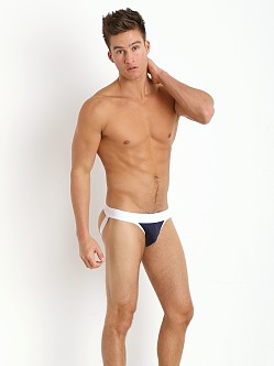 Tulio Stretch Mesh Power Pouch 3-Way Jock Thong Navy/White
