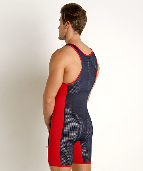 American Jock Team Mesh Singlet Navy/Red