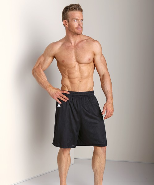 Russell Athletic 100% Tricot Mesh Gym Shorts Black