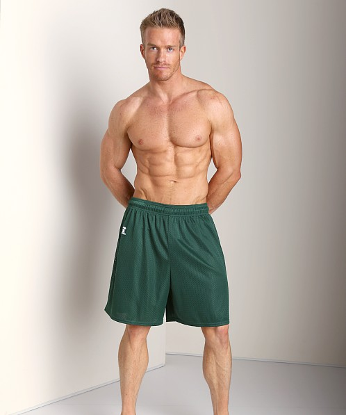 Russell Athletic 100% Tricot Mesh Gym Shorts Dark Green