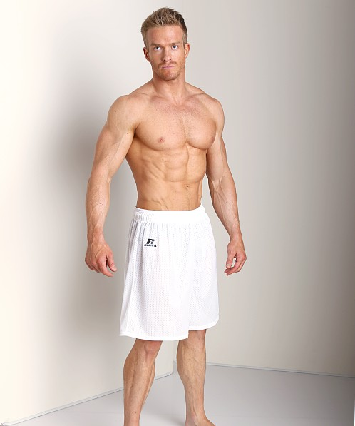 Russell Athletic 100% Tricot Mesh Gym Shorts White