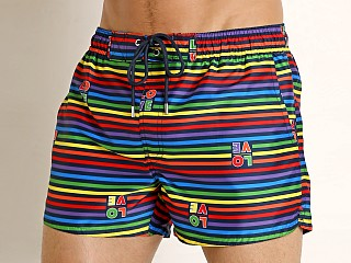 Model in love stripe rainbow 2xist Pride Ibiza Swim Shorts