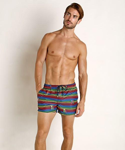 2xist Pride Ibiza Swim Shorts Love Stripe Rainbow