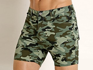 2xist After Pool Stretch Twill Shorts Traditional Camo New Green