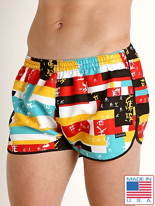 Model in calligraphy print Sauvage Ace Swim Trunk