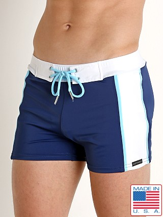 Sauvage Mesh Panel Sporty Swim Trunk Navy/Sky