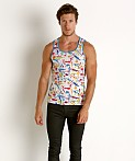 St33le Stretch Mesh Tank Top Ink Splatter, view 1