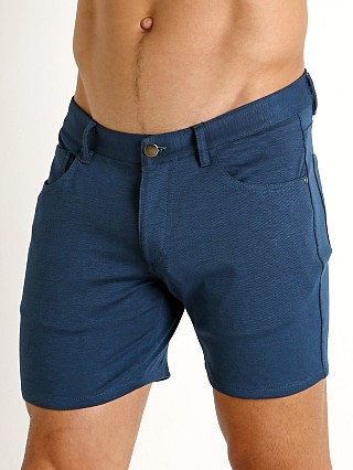 St33le Knit Jeans Shorts Marine Blue
