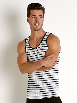 St33le Stripe Stretch Eyelet Tank Top Black