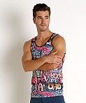 St33le Stretch Mesh Tank Top Printed Graffiti, view 3