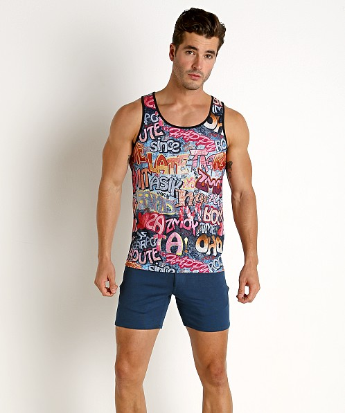 St33le Stretch Mesh Tank Top Printed Graffiti