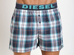 Diesel Luv Plaid Boxer Shorts Blue