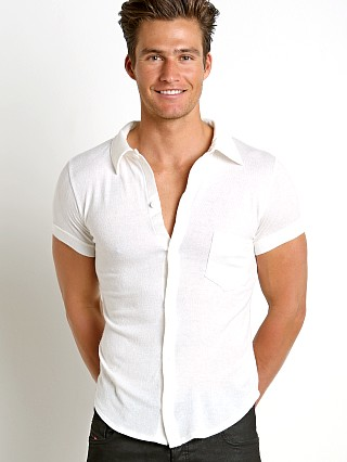 Modus Vivendi Mohair-Look Shortsleeve Shirt Off-White