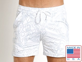 LASC White Party Printed Performance Short White Picasso